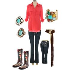 Western Coral & Turquoise Cowgirl western outfit