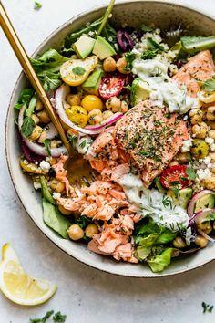 Salmon Recipes, Seafood Recipes, Diet Recipes, Cooking Recipes, Healthy Recipes, Salmon Meals, Plats Healthy, Healthy Fats, Healthy Eating