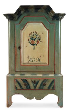 A Swedish 19th Century Painted Cupboard Marked BLD.