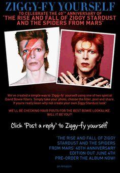 Os fãs do cantor e compositor David Bowie que ainda não comemoraram os 40 anos de lançamento do álbum The Rise and Fall of Ziggy Stardust and the Spiders from Mars podem prestar suas homenagens pela internet. Na rede social webdoc, os adoradores do eterno Camaleão do Rock podem inserir o famoso relâmpago bicolor do alienígena extravagante Ziggy Stardust em fotos sacadas por webcams...