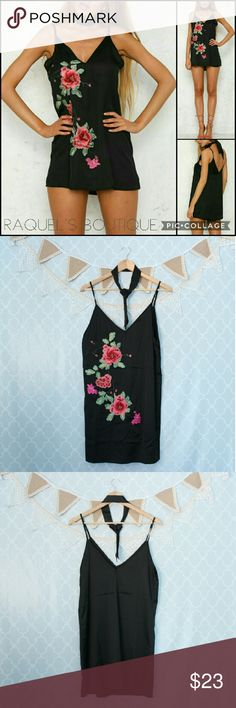 Black Blossom Embroidered Slip Dress Details: Black silky slip dress with floral embellishments in the front, adjustable straps and comes with matching long neckerchief/ choker   Brand: Boutique Brand   Size: Medium   *Missing choker, will accept $20 for this one only*   Measurements: Bust/34 inches Length/29-33 inches   Size: Large  Measurements: Bust/36 inches Length/30-34 inches   Condition: New and packaged Dresses