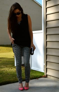 pink heels and animal print pants! girl's night out look:)
