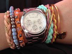 Michael Kors watch with pastel bracelets