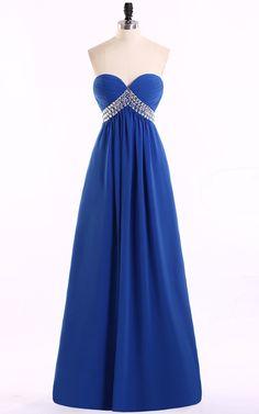 Empire Sweetheart Chiffon Crystal Royal Blue Long Prom Dress