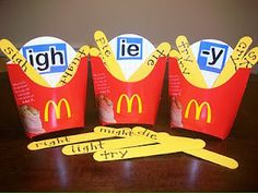 First Grade School Box french fries sound spelling practice-doesn't encourage healthy eating though...hmm