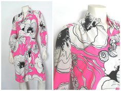 1960s Pink and White Graphic Flower Dress by RetreauxgirlVintage