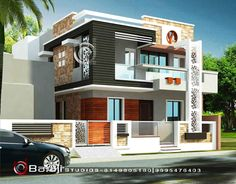New exterior modern building decks Ideas House Outside Design, House Front Design, Small House Design, Modern House Design, Single Floor House Design, Duplex House Design, Architectural Design House Plans, Architecture Design, Indian House Plans