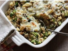 Healthy brown rice broccoli and cheese casserole - oh my gosh this was so good!!! the ricotta cheese and basil just put it over the edge for me!