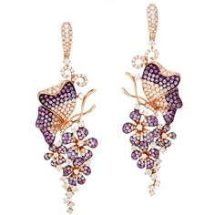 18K Rose gold earrings mounted with 246 pink sapphires and 248 radiant diamonds. PS 3.14ct, Dia, 3.81ct