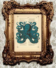Nautical Home Decor Vintage Dark Blue Octopus by BiloxiHousewife, $10.00