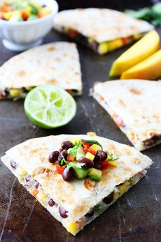 Mango Black Bean Quesadillas are easy to make and are perfect for lunch or dinner. A great kid-friendly meal!