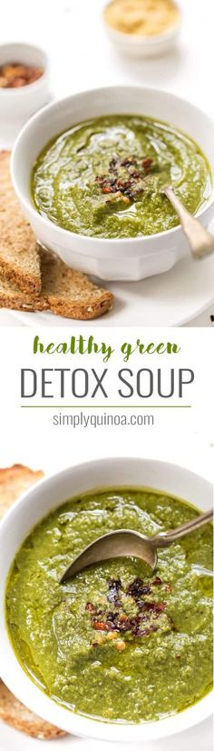 Green Detox Soup This super healthy green DETOX SOUP is packed with cleansing greens, it's hearty, cozy and delicious!This super healthy green DETOX SOUP is packed with cleansing greens, it's hearty, cozy and delicious! Vegan Soups, Vegan Vegetarian, Vegetarian Recipes, Healthy Recipes, Paleo, Healthy Detox, Healthy Soup, Healthy Eating, Clean Eating