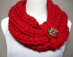 Chunky Bulky Crochet Cowl  Red with a Button by CrochetCluster, $26.00