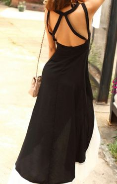 U-neck Sleeveless Back Hollow-out Party High Low Dress
