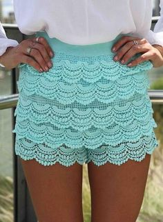 Teal Scalloped Lace High Waist Shorts,  Bottoms, lace shorts  high-waist, Casual