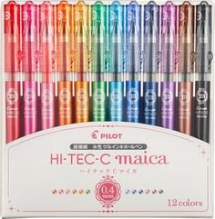 Pilot Hi-Tec-C Maica Gel Ballpoint Pen, 12 Color Set, Fine Packaging: transparent case (PP material) Stationery Pens, School Stationery, Cute Pens, Cute School Supplies, Marker Pen, Pen Sets, Gel Pens, Ballpoint Pen, Markers