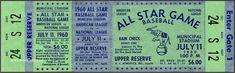 5 1960  BASEBALL ALL-STAR & WORLD SERIES  GAME VINTAGE UNUSED FULL TICKETS rpo 1960 World Series, World Series Tickets, Baseball Games, Baseball Tickets, Cardinals Game, Busch Stadium, Willie Mays, Minor League Baseball, American League