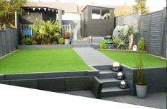 Not a GRASSify job but still a lovely example of artificial grass application. Steep Gardens, Back Gardens, Outdoor Gardens, Backyard Patio, Backyard Landscaping, Landscaping Retaining Walls, Astro Turf Garden, Garden Mum, Tiered Garden