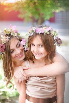 boho bridal and flower girl looks