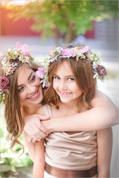 boho bridal and flower girl looks #pinkwedding #bohowedding #weddingchicks http://www.weddingchicks.com/2013/12/26/pink-and-gold-wedding-ideas-2/