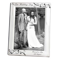 Personalise this Black Swirl Frame with any name up to 20 characters above the photograph. Add a longer message below the photograph of up to 2 lines of 25 characters.  Frame holds a 5x7 photograph.  Silver plated frame.  NOTE: Due to the nature of this product and the font type used please refrain from using all capitals in your personalised message. If the message is all in capitals you will find the personalisation extremely difficult to understand and may even result in personalisation…