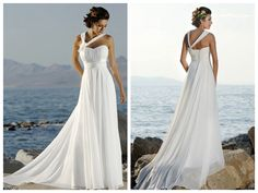 Halter Strap Asymmetrical Empire Waist Sweetheart Chiffon long length beach Wedding Dress