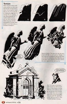 Basic Training: How to Build a Better Graveyard, by Mike Mignola. Published in Wizard Drawing Techniques, Drawing Tips, Drawing Reference, Mike Mignola Art, Graphic Novel Art, Bd Comics, Comic Styles, Art Graphique, Comic Artist