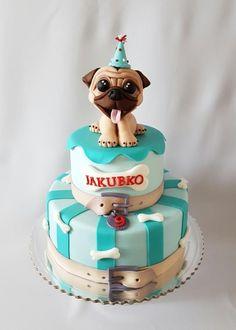 Pug birthday cake… – Cake by Katka - Pubg Pic Fondant Dog, Fondant Cakes, Cupcake Cakes, Puppy Birthday Cakes, 60th Birthday, Pug Cake, Funny Cake, Animal Cakes, Homemade Dog Treats