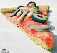 it's a pizza sleeping bag!  sleep in a pizza!