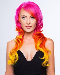 Summer hair sorted!!!  Already neon pink and before that an awesome glowy sunset orange/red/pink fade... What to do with sidecut though, probs fade this a tad, keep my roots showing and go for regrowth as contrast... Oh and neon'up the yellow, also mos def using SFX napalm orange :D <3