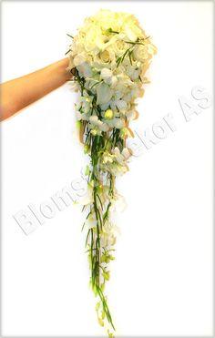 Brudebukett med hvite blomster