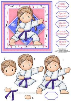GRANDSON WITH LOVE PK 2 MARTIAL ARTS EMBELLISHMENT TOPPERS FOR CARDS OR CRAFTS