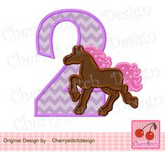 Birthday number 2 with horse,horse Silhouette Digital Applique -4x4 5x7 6x10-Machine Embroidery Applique Design by CherryStitchDesign on Etsy
