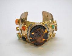 Nice Marc Jacobs Gold Tone Cameo Cuff Bracelet