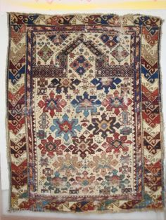 Shirvan 15 Snowflake Stars on Ivory. a 19th century prayer rug of petite dimensions. Numerous small holes and nicks, no restorations. 40 x 51 inches (100 x 127 cm)