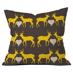"""Pillow with a deer motif. Designed by Natt for DENY Designs.  Product: PillowConstruction Material: Woven polyesterColor: MultiFeatures:  Designed by Natt for DENY DesignsMade in the USAInsert included Dimensions: 18"""" x 18""""Cleaning and Care: Spot treatment with mild detergent"""