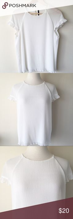 Zara Trafaluc White Pleated Top Zara Trafaluc // white blouse // pleated front and back // sheer cap ruffle pleated sleeves // back key hole button closure // excellent condition Zara Tops