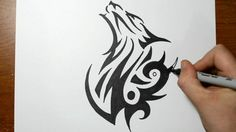 How to Draw a Tribal Wolf - Sketch 1