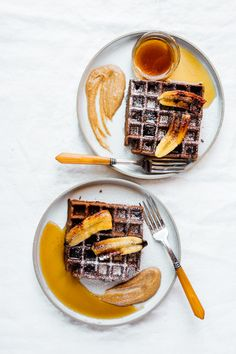 Chocolate Espresso Waffles with Caramelized Bananas | TENDING the TABLE's on-point food styling as usual.