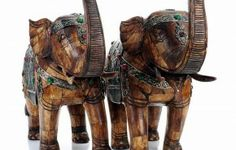 "Pair of Chinese Jeweled Elephants Sculpture Figures - 24""H - ID# 1363 - $1,620.00 #antiques #Chinese Jeweled Elephants Sculpture Figures"