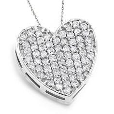 Luxurman 14k Gold 3/4ct TDW Pave Diamond Heart Pendant
