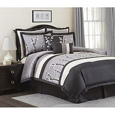 Lush Decor Black Cocoa Flower 8-piece Comforter Set | Overstock.com