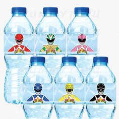 Power Rangers Birthday Party Water Bottle Labels  Red by mummytofu