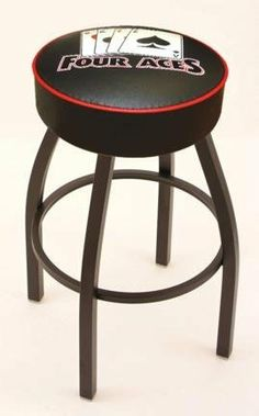 "4 Aces (L8B1) 25"" Tall Logo Bar Stool by Holland Bar Stool Company (with Single Ring Swivel Black Solid Welded Base) by Holland Bar Stool. $127.79. Made for the ultimate sports fan, impress your buddies with this knockout from Holland Bar Stool. This contemporary 25"" ""4 Aces"" stool has a single-ring base with a 4"" cushion for a fashion that says ""sleek and simple"". Holland Bar Stool uses a detailed screen print process that applies specially formulated epoxy-vinyl ink in n..."