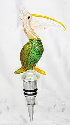 New Hand Blown Glass White Green Pelican Wine Stopper Cork | eBay