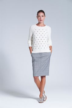 Embroidered Spot Knit from Trenery, worn with grey plaid skirt - looks perfect for winter