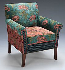 "'Salon Chair in Zinnea' by Mary Lynn O'Shea (Upholstered Chair) (33"" x 30"") 