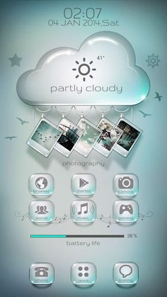 [Homepack Buzz] Sieh dir diesen tollen Homescreen an!- added a blue one for anyone who doesn't want pink on their homescreen also changed some of the hanging pictures. added 2 pages one with a G… Cloudy Photography, Android Icons, Hanging Pictures, Android Smartphone, App Icon, Homescreen, Touch, Screens, Layouts