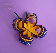 Butterfly Boutique Bow Hair Clip in Polka Dot Yellow and Blue