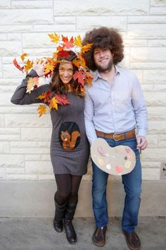 50 DIY Couples Costumes Guaranteed to Win Every Halloween Party Contest bob ross happy tree couple halloween costume Clown Halloween Kostüm, Tree Halloween Costume, Couples Halloween, Cute Couple Halloween Costumes, Fete Halloween, Halloween Ideas, Group Halloween, Halloween Decorations, Adult Halloween